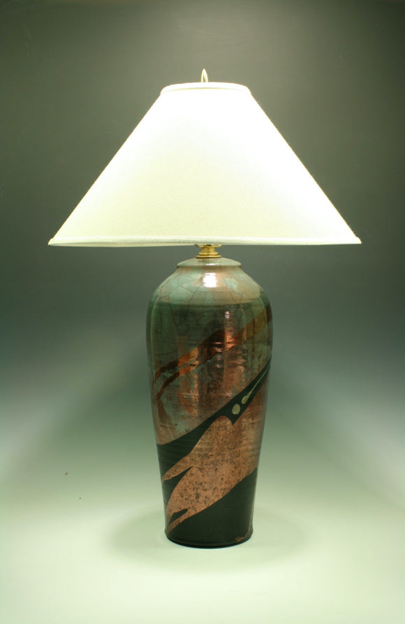 Raku Table Lamp -  Large - Teal with Copper Pours