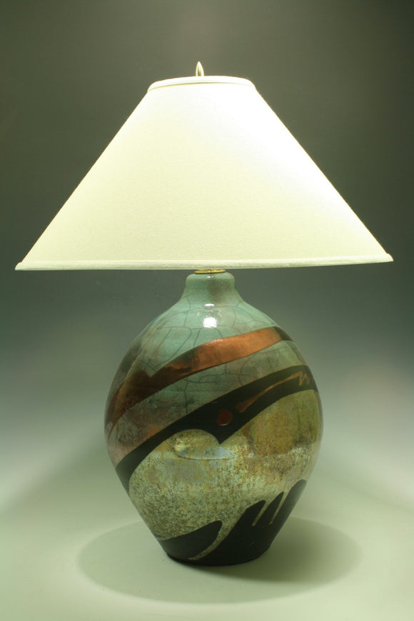 Raku Table Lamp - Large round - Teal with Gold pours