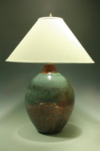 Raku Table Lamp - Large round - Teal Crackle