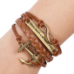 Women Men Rudder Anchor Multilayer Knit Leather Chain Charms Bracelet Gift