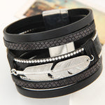 New Leaves Braided Leather Stainless Steel Cuff Bangle Bracelet Wristband