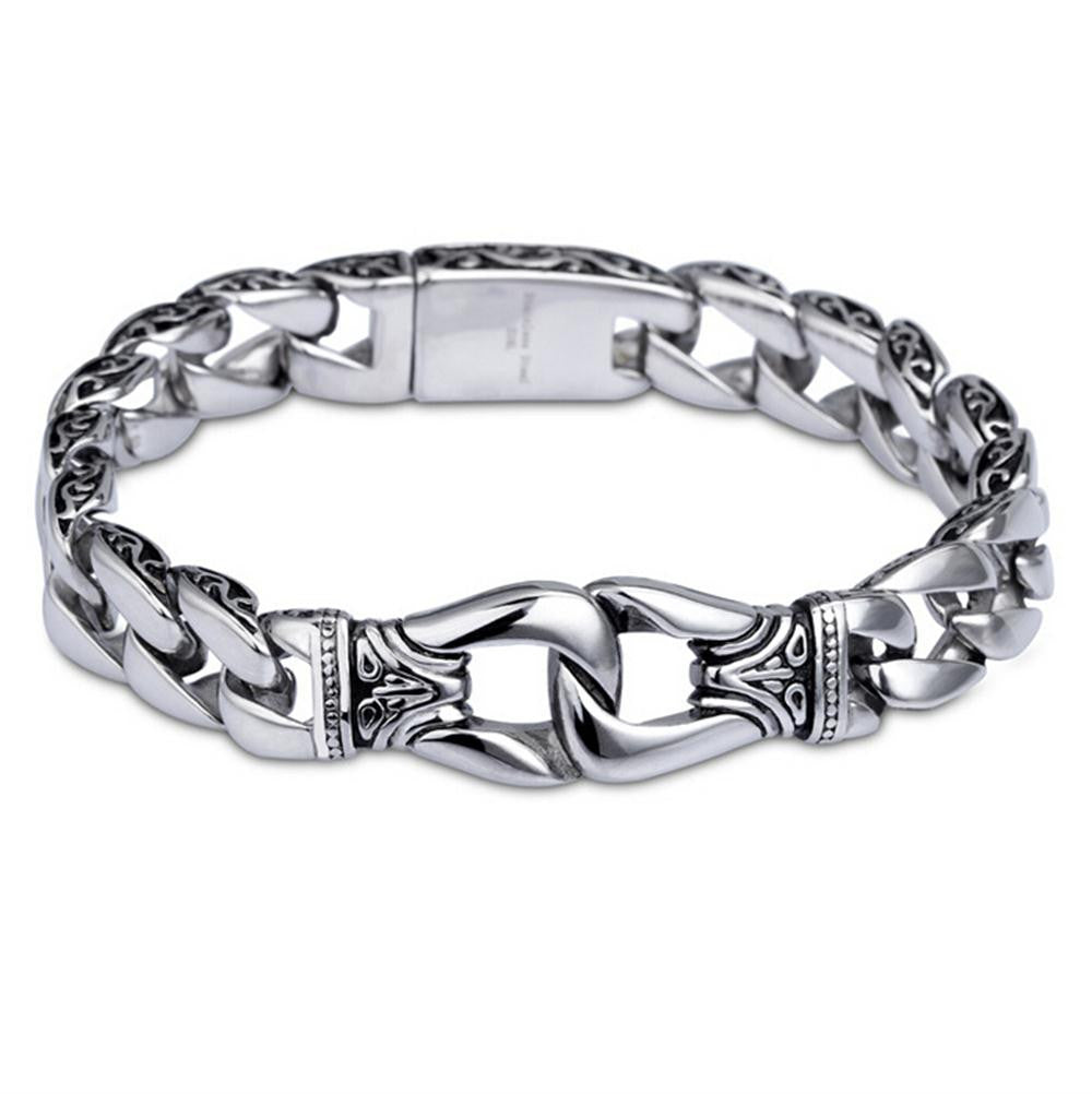 Men's Link Chain Bracelet Fashion Vintage Stainless Steel Cuff Chain Bracelet for Birthday Gift Valentine's Day Gift