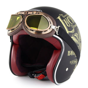 Retro Motorcycle Helmet with Harley Goggles