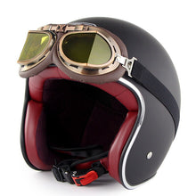 Load image into Gallery viewer, Retro Motorcycle Helmet with Harley Goggles