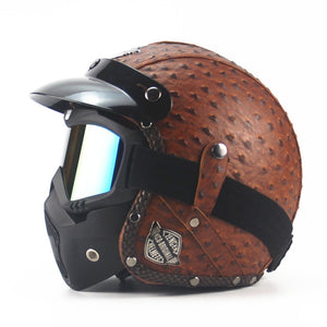 Leather Motorcycle Helmet
