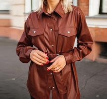 Load image into Gallery viewer, Vintage PU Leather Blouse