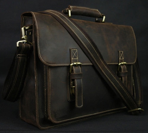 Men's Leather Briefcase Laptop Bag
