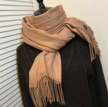 Load image into Gallery viewer, Women's Solid Color Cashmere Scarf with Tassels