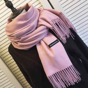 Women's Solid Color Cashmere Scarf with Tassels