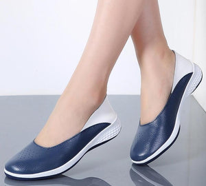 Women's Flat Leather Moccasin Shoes