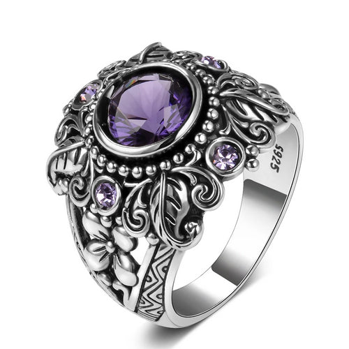 3ct Amethyst Sterling Silver Ring