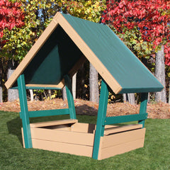 Congo Kid's Chalet Sandbox With Roof - Green and Cedar
