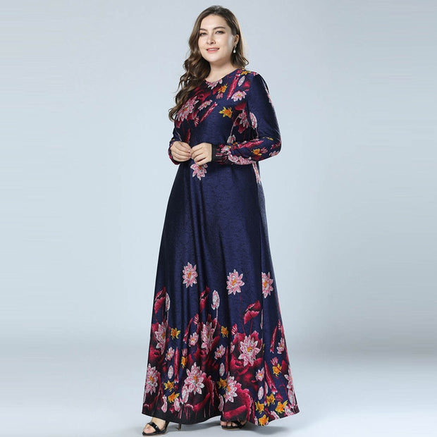 Printed Floral Dress Navy Blue