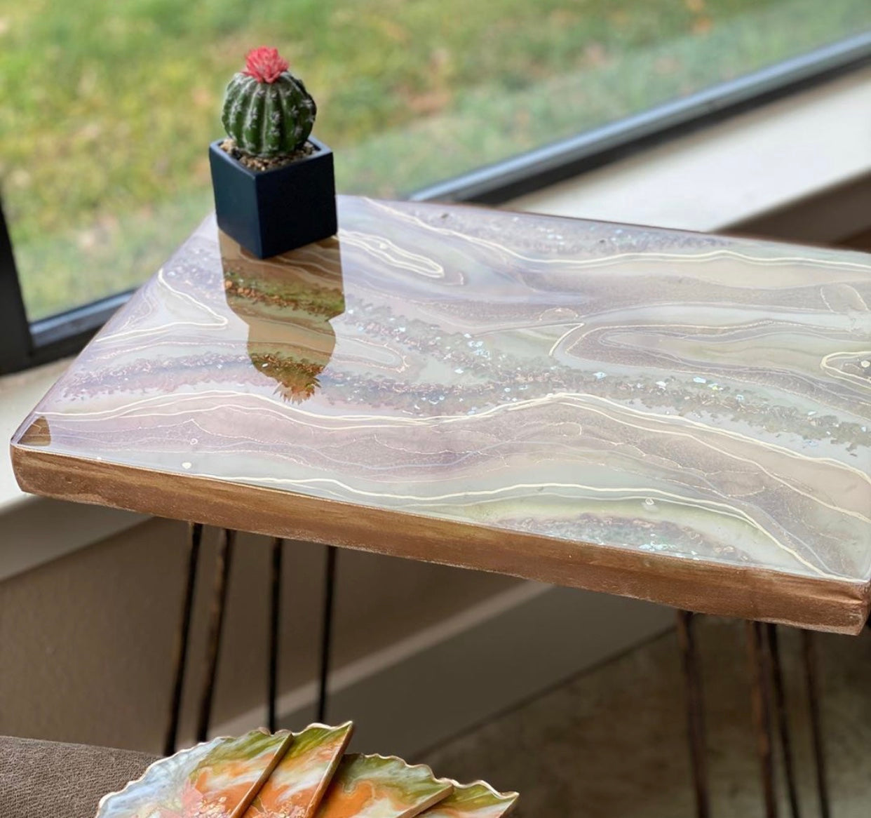 Custom Terra Cotta and Sage square flat geode table