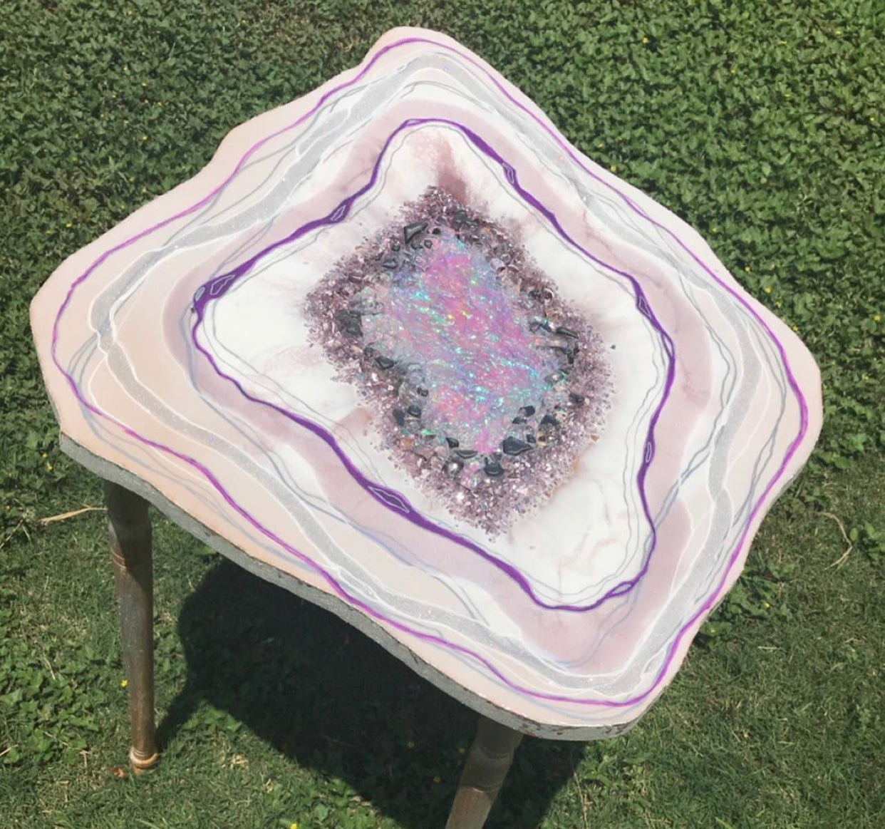 Pastel Textured Freeform Geode Table with holographic center