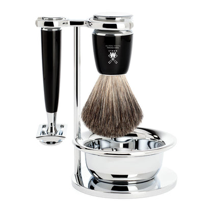 Muhle Rytmo 4-Piece Pure Badger Safety Razor Shaving Set - Black