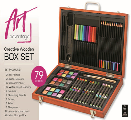 Art Advantage: Creative Wooden Art Box - 79 Pieces