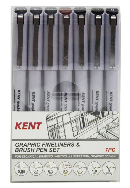 Kent: Graphic Fineliner & Brush Pen (Set of 7)