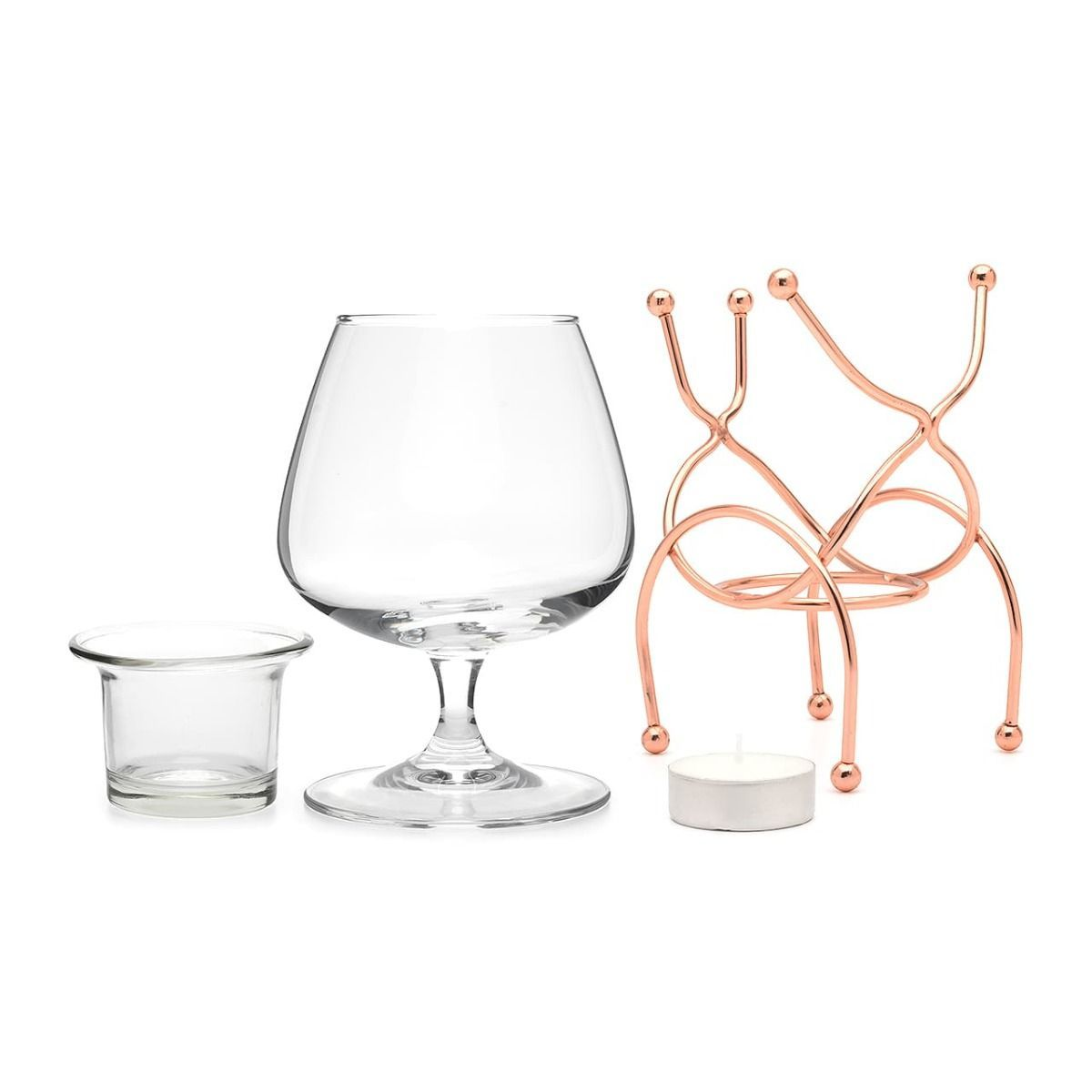Bar Amigos Brandy Warmer Set - Copper (400ml Snifter with Stand)