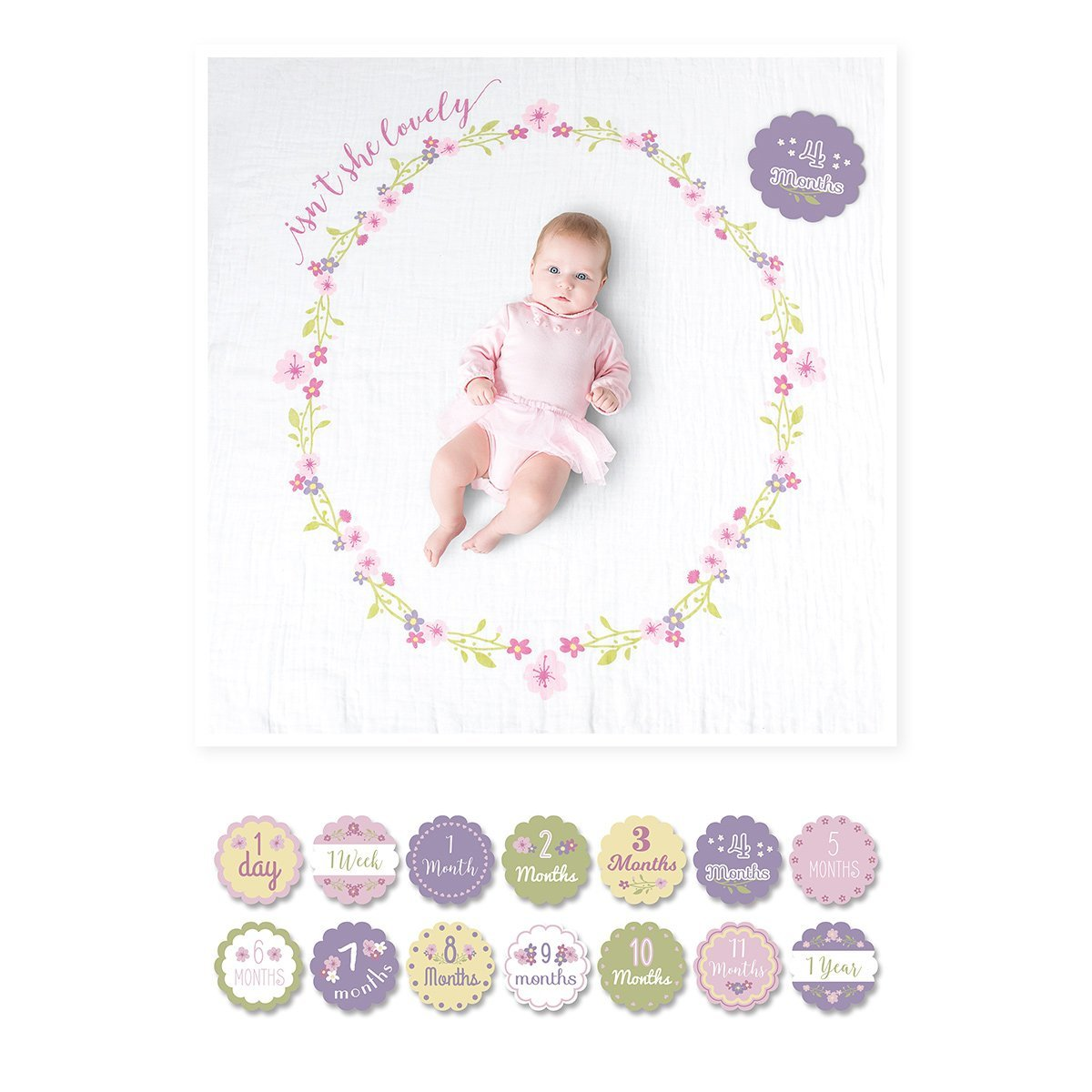 Lulujo's Baby First Year Milestone Blanket & Cards Set - Isn't She Lovely