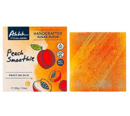 Ahhh Soaps: Body Sugar Scrub Bar - Peach Smoothie (100g)