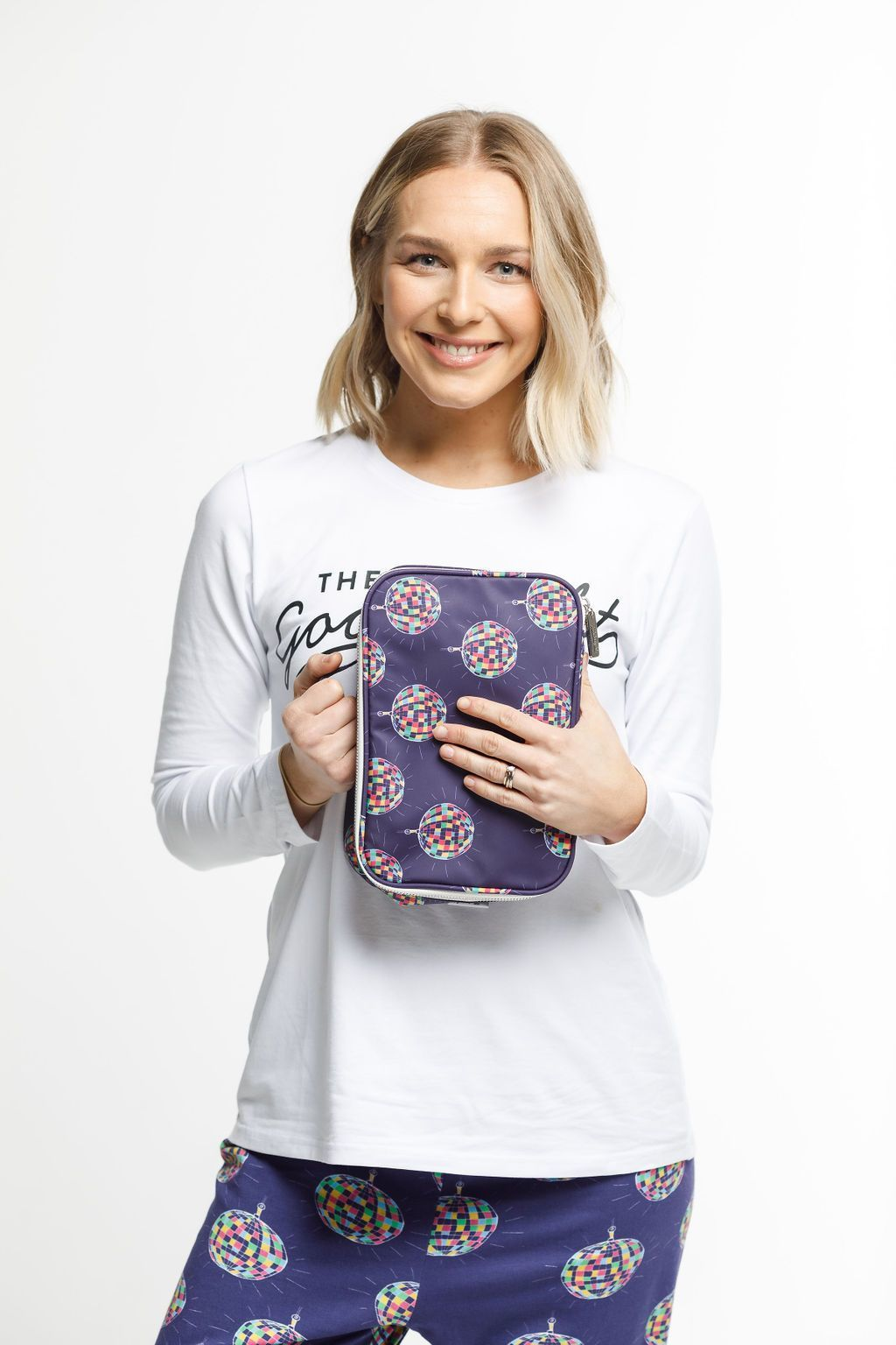 The Goodnight Society: Cosmetic Bag Large - Disco Ball Print