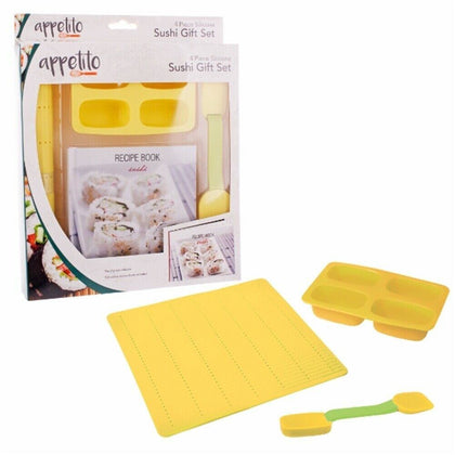 4 Piece Silicone Sushi Gift Set with Recipe Book