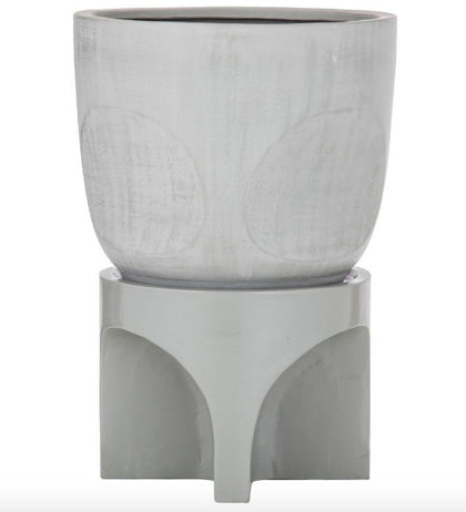 Amalfi: Oliver Planter Pot On Stand - Sage