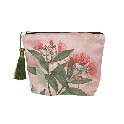 100 Percent NZ: Vintage Botanical Pohutukawa Velvet Cosmetic Bag