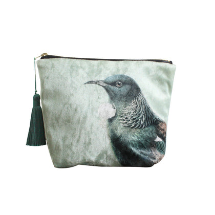 100 Percent NZ: Hushed Green Tui Velvet Cosmetic Bag