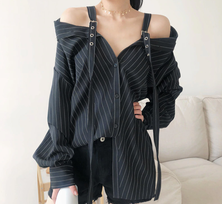 Can't be Tamed Off Shoulders Strap Blouse