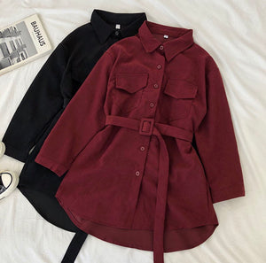 Stop and Stare Corduroy Blouse Dress