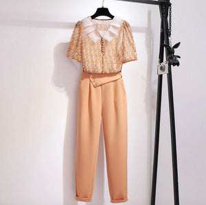 Retro Blouse and Pants Set