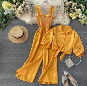 Just Breathin' Blouse and Jumpsuit Set