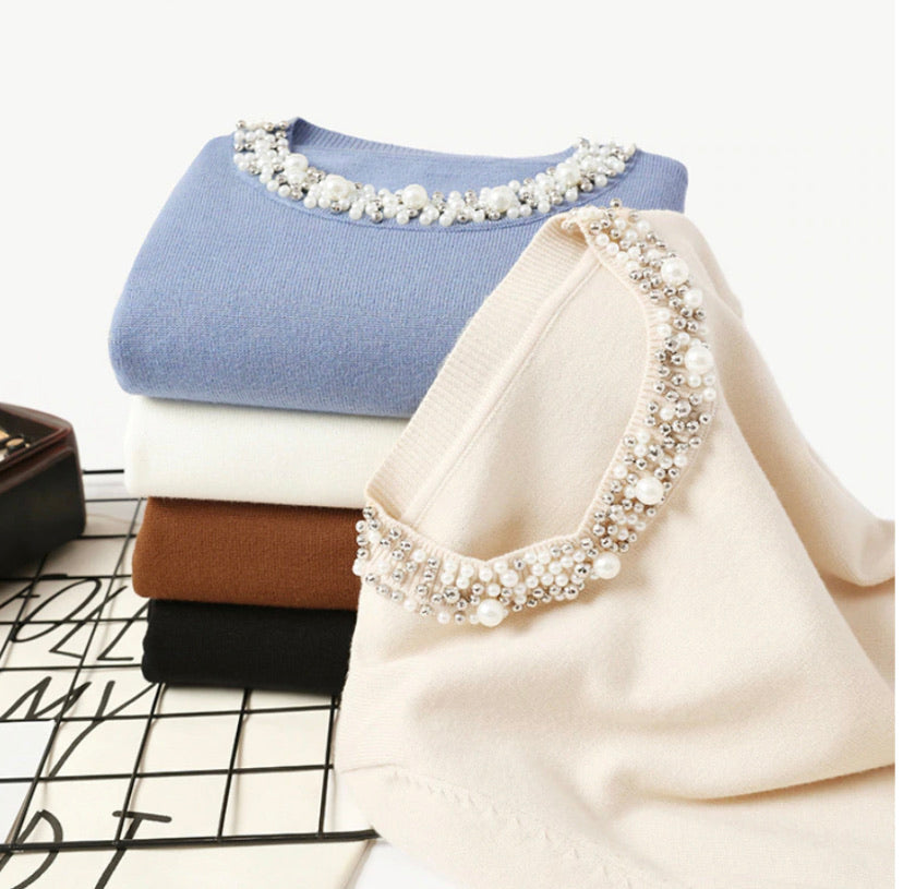 Pearls that Shine Beaded O-neck Sweater