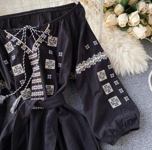 Geometrical Perfection Embroidered Dress