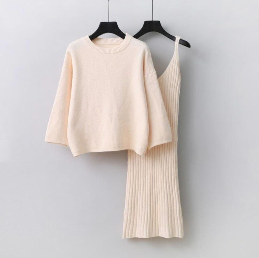 Flamboyance Knitted Sweater With Dress