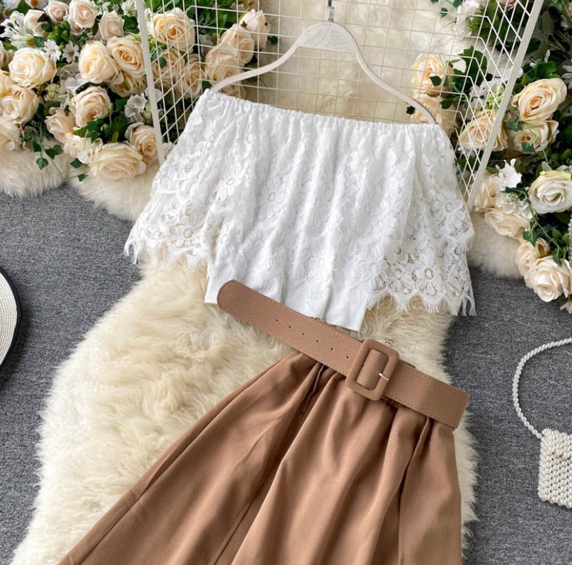Lovely Lace Blouse with Belted Skirt