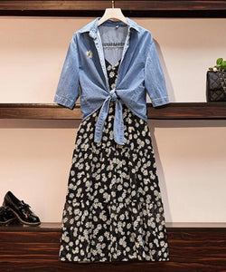 Daisies and Denim Dress with Denim Pullover