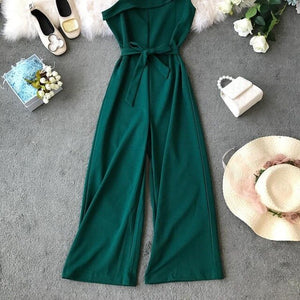 Asymmetric Shoulder Jumpsuit