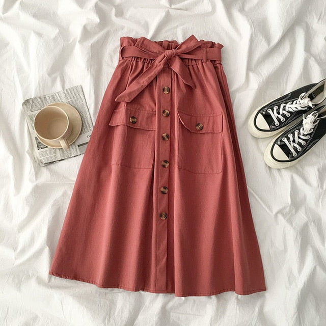 High-waisted Belted Skirt