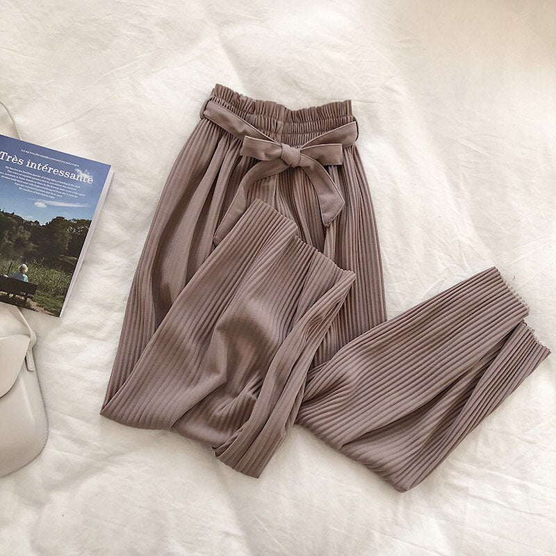 Pleated Belted Pants