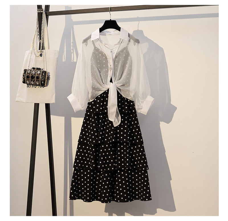 Polka Dots Dress With Pullover