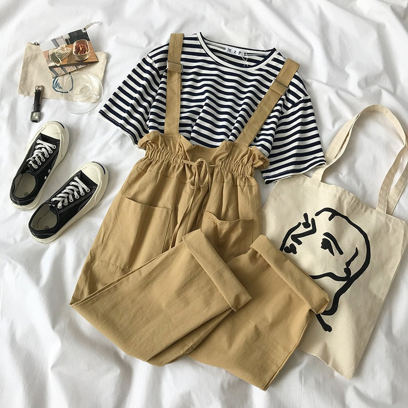 Striped Tee & Overall Set