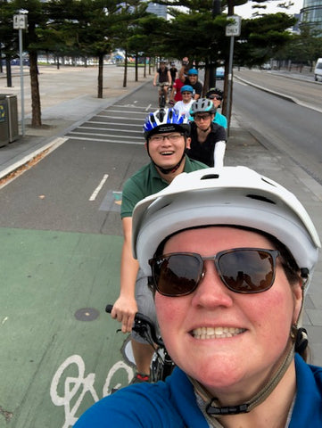 group ride with other bikers in the city