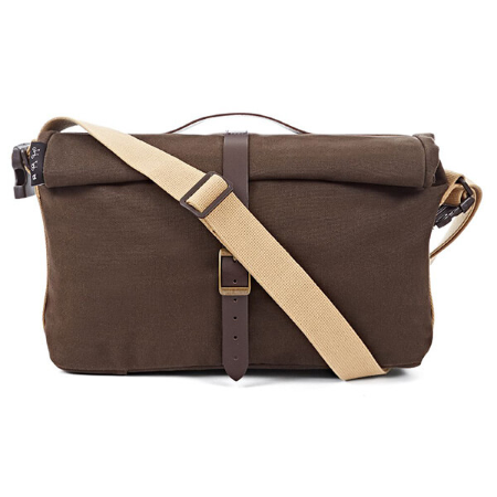 Khaki Brompton Roll Top Bag (Waxed Canvas) - front