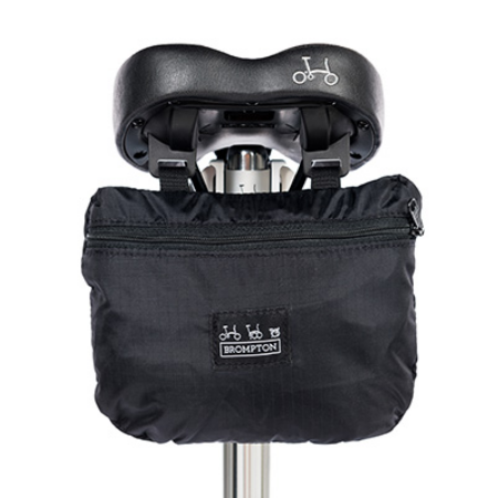 Brompton Bike Cover with integrated Pouch - attached to saddle
