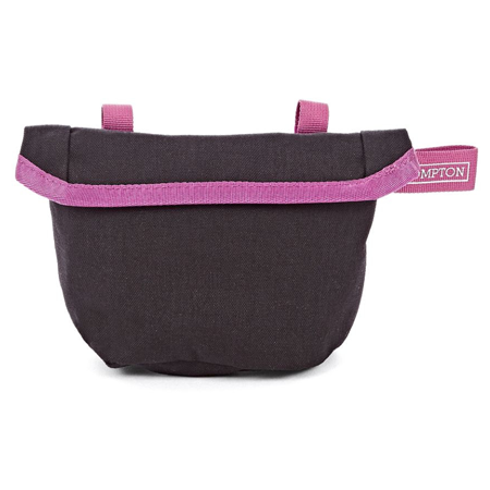 Black Brompton Saddle Pouch with Berry Crush-coloured straps - front