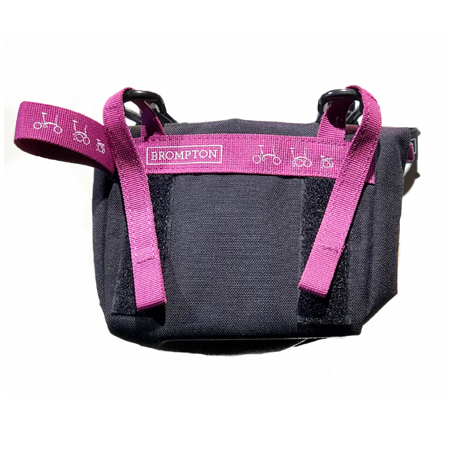 Black Brompton Saddle Pouch with Berry Crush-coloured straps - back