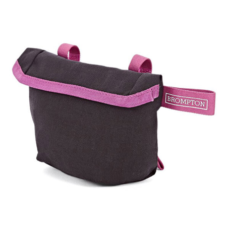 Black Brompton Saddle Pouch with Berry Crush-coloured straps - side